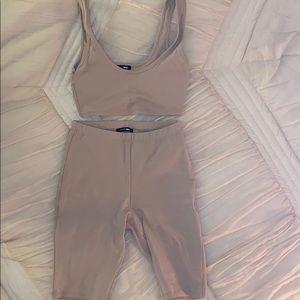 Fashion Nova two piece set in tan